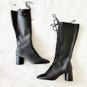NEW Zara Black Leather Lace Up Tall Heeled Boots